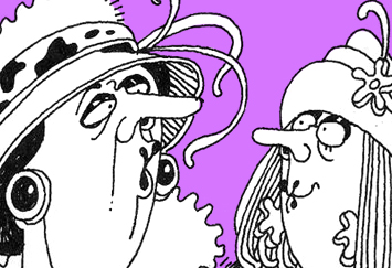 An image from a David Shenton cartoon that depicts two women wearing elaborate hats.