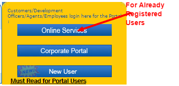 LIC policy status registered user home page