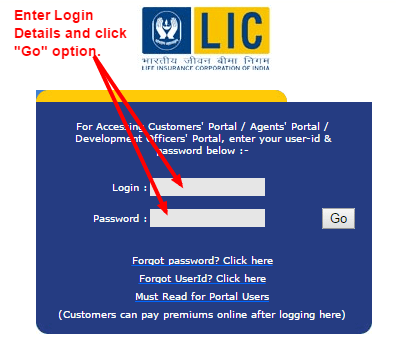 LIC policy status registered user login page