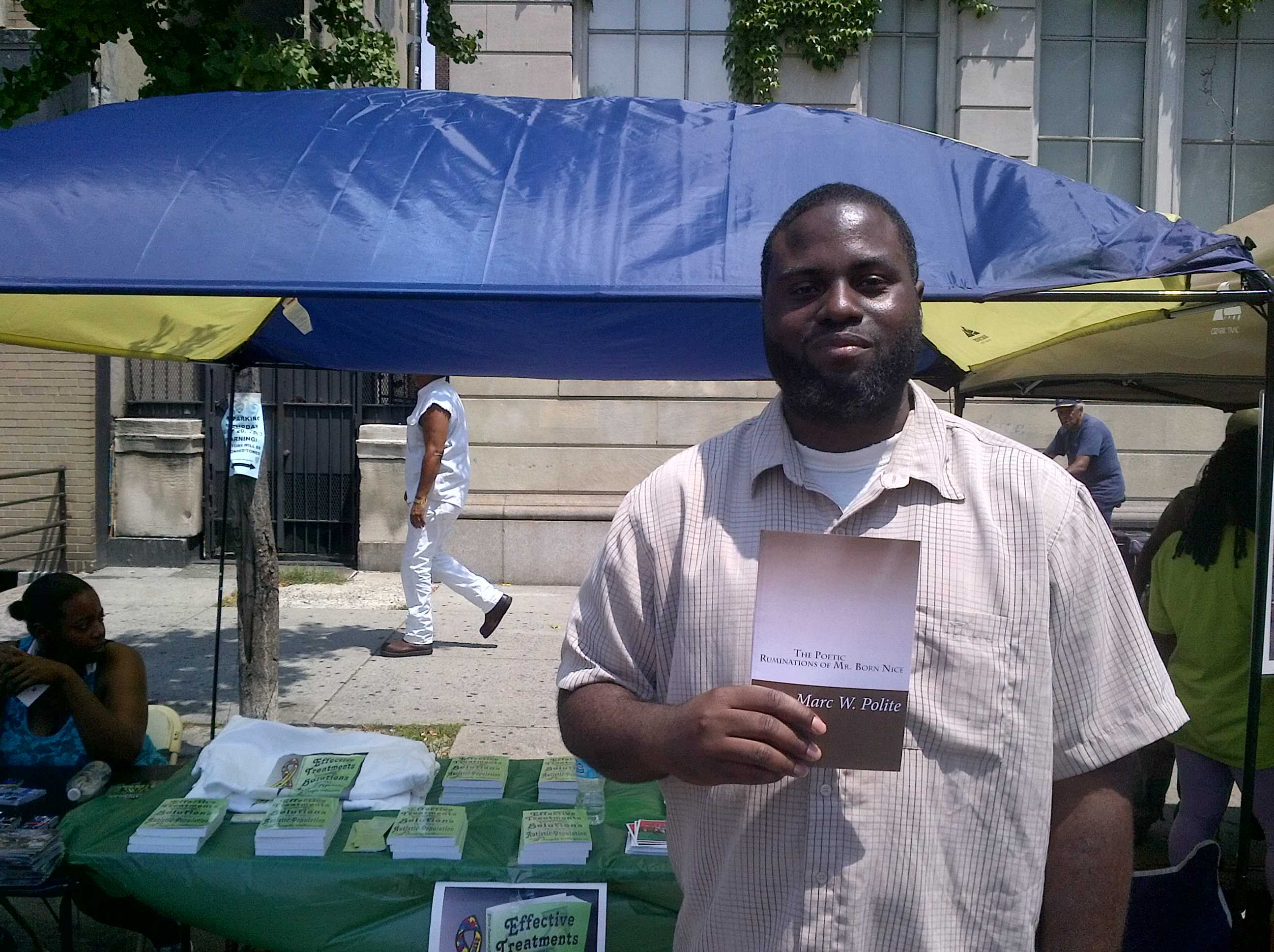 Marc Polite promotes his poetry book at Harlem Book Fair 2013