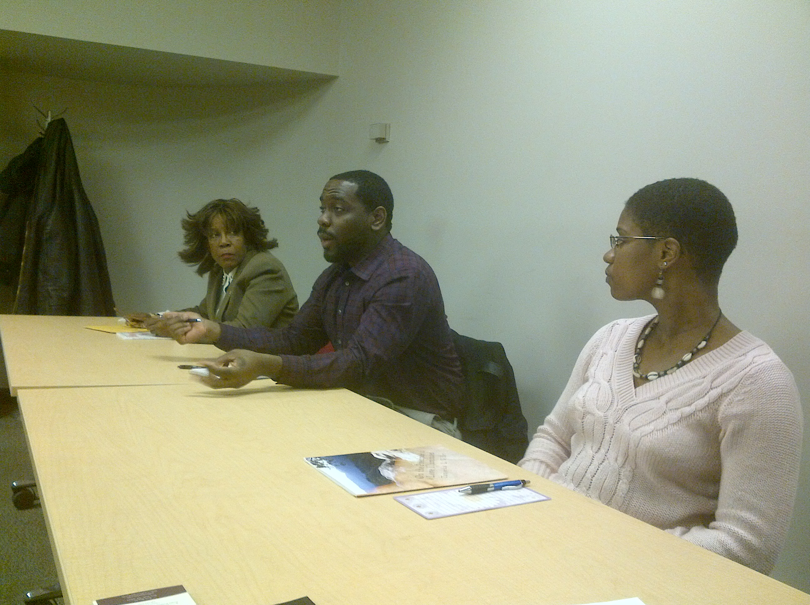 Authors Rose Nurse, Stanley Fritz, and Taneeka Wilder speak to Countee Cullen audience