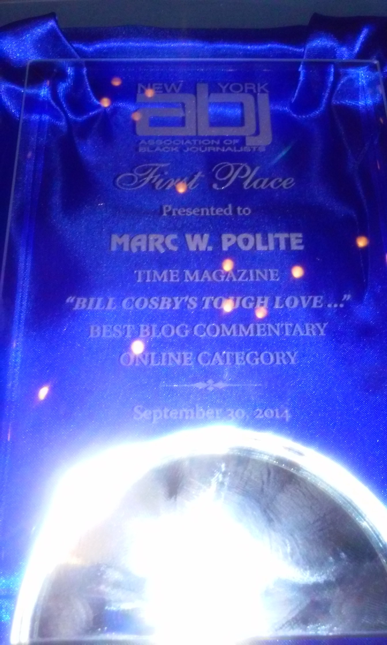 Marc Polite wins Best Blog Commentary via NYABJ Gala 2014