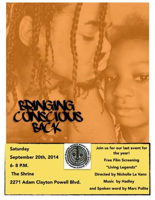 Bringing Conscious Back show @ The Shrine Sept. 20th!