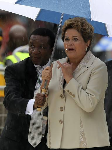 Brazilian President Rousseff arrives ahead of the national memorial service for the late former South African President Mandela in Johannesburg