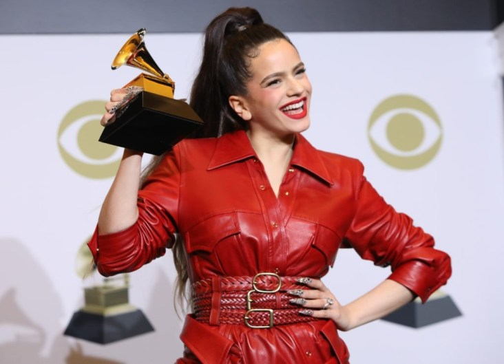 "62nd Grammy Awards – Photo Room – Los Angeles, California, U.S., January 26, 2020 - Rosalia poses backstage with her Best  Latin Rock, Urban or Alternative Album award for ""El Mal Querer"