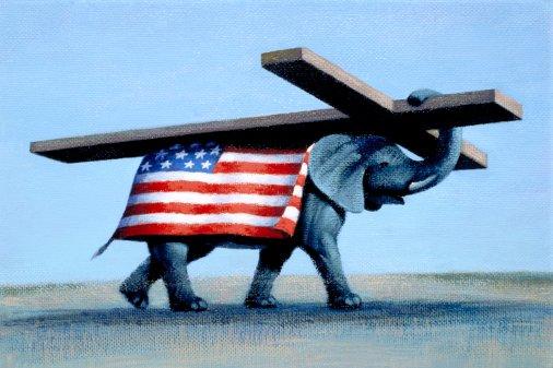 flag cross elephant