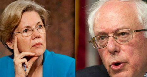 elizabeth warren bernie sanders hell no liberal caucus