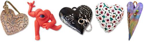 Brady, Segal, Holden, Unknown, Friesen polymer clay hearts