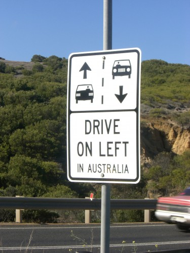 drive on the left in australia sign