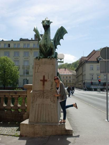 Me on the Dragon Bridge in Ljubljana