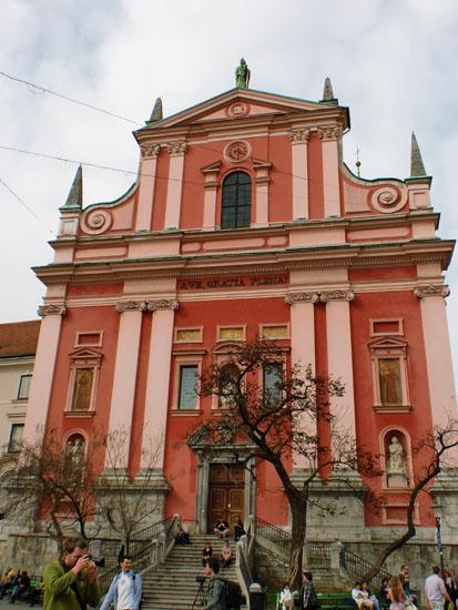 Red Franciscan Church in Ljubljana, Slovenia