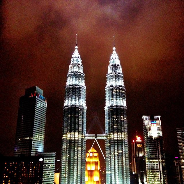 Petronas Towers View from the Skybar at the Traders Hotel Kuala Lumpur