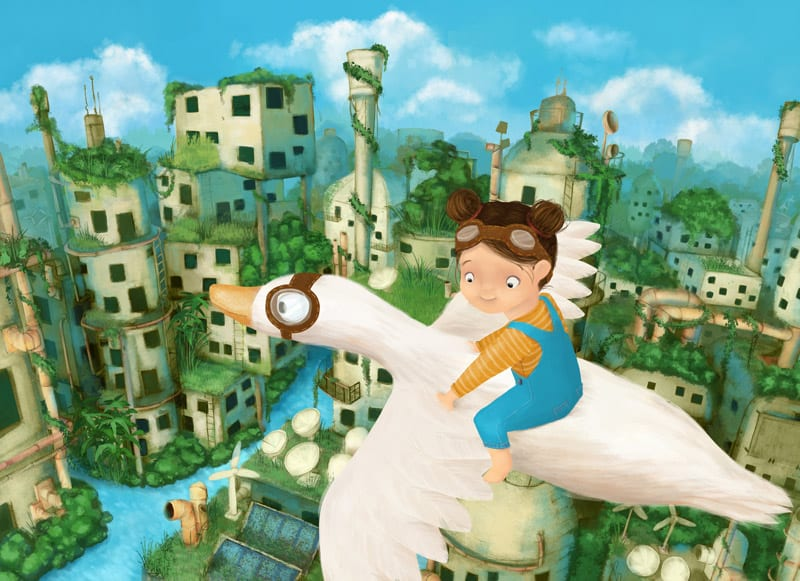 illustration of girl flying on goose by stephanie dehennin