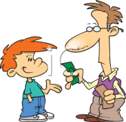 A father gives his kid an allowance