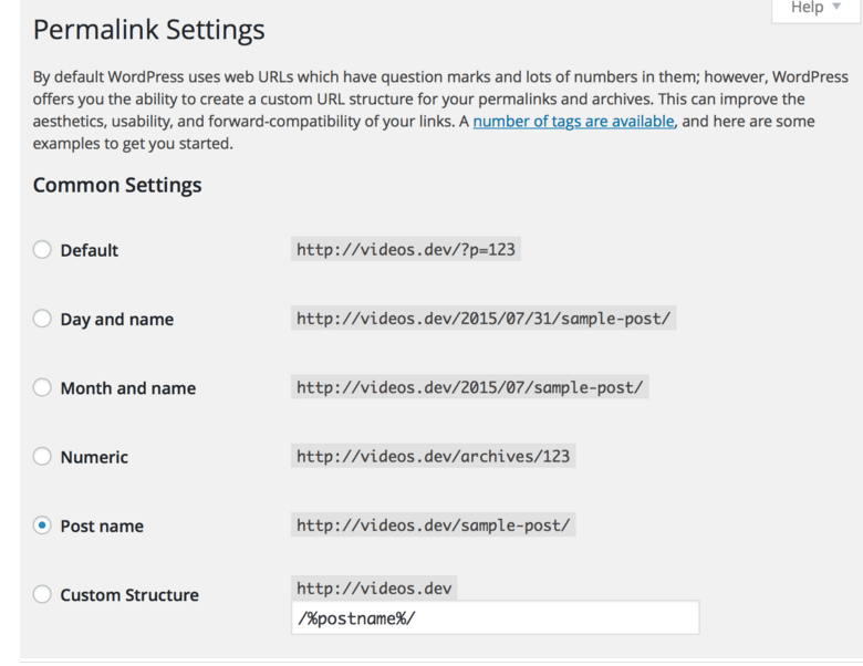 WordPress permalink types
