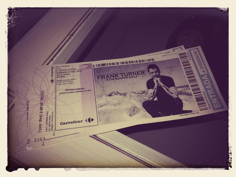 Entradas concierto Frank Turner. Sala Arena, Madrid. 1 de febrero de 2014.