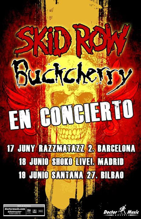 Cartel gira española Skid Row & Buckcherry 2014.
