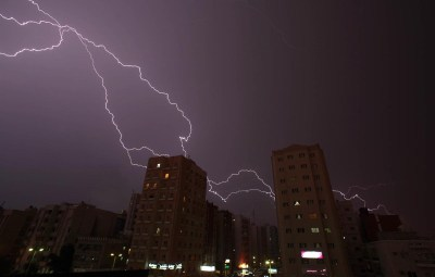 TOPSHOTS Lightning strikes the sky over Kuwait City during a thunder storm early on May 5, 2013. AFP PHOTO/YASSER AL-ZAYYATYASSER AL-ZAYYAT/AFP/Getty Images ORG XMIT: