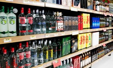 Bottles arranged in a liquor store