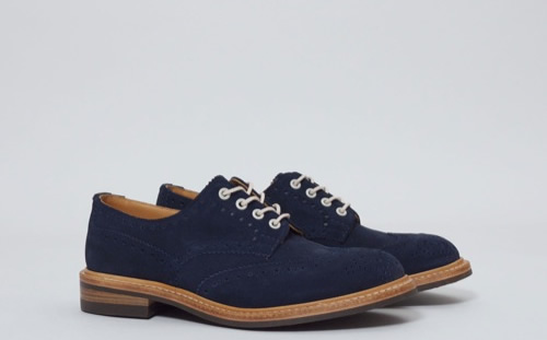 Trickers Midnight Suede Derby Brogue