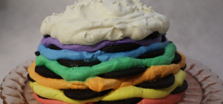Rainbow Icebox Cake with Homemade Chocolate Cookies | Pork Cracklins