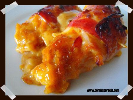 """Rollitos de pollo con """"salsa sorprendente"""""""
