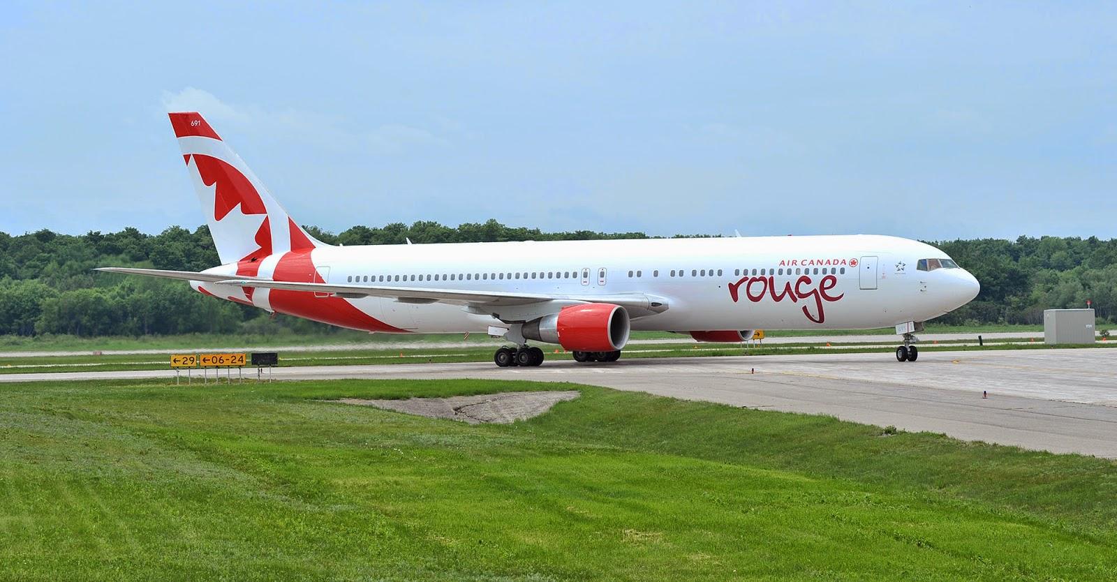 Retour du B767 d'Air Canada rouge à Nice
