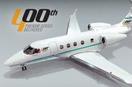 Embraer Aviação Executiva entrega o 400º jato Phenom.