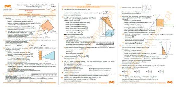 Ficha de Trabalho 9Ano Matemática Preparação Prova Final Exame Novo Programa 2016