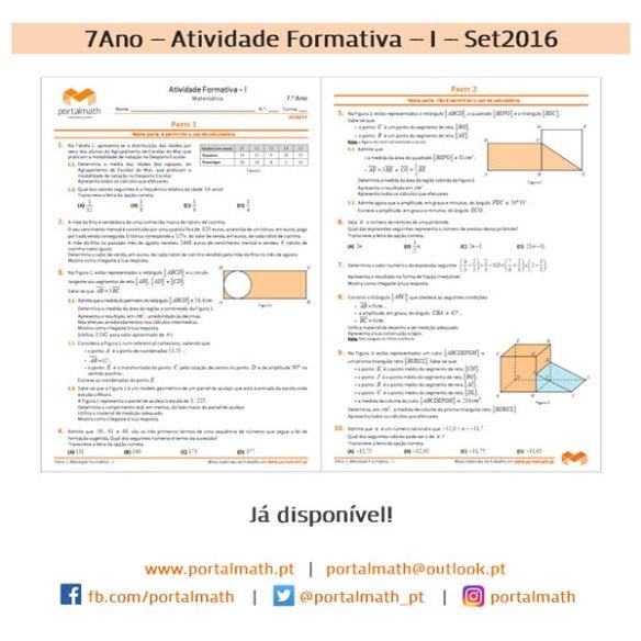 7Ano - Matemática - Novo Programa - Atividade Formativa I Setembro 2016