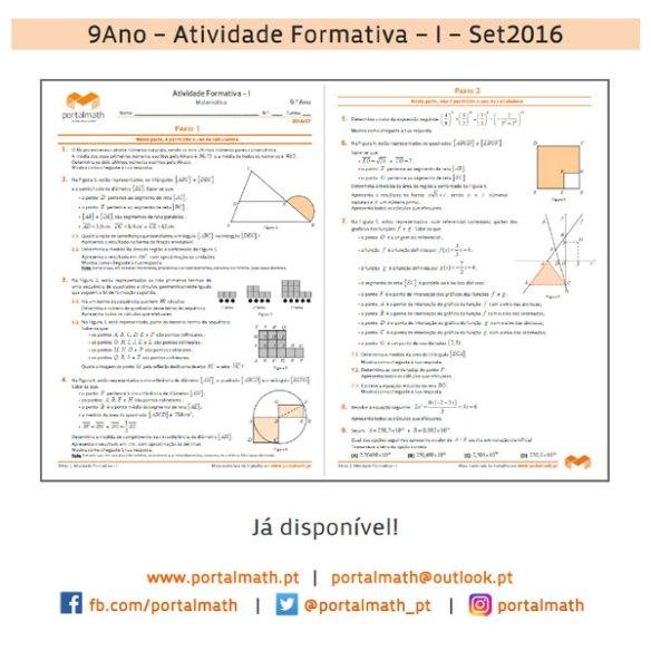 9Ano Atividade Formativa Matemática Setembro Novo Programa 2016