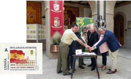 Matasellando el General D. M. Busquier, el Embajador D. F. Vázquez, el General D. F.J. Sánchez, el Presidente D. J.L. Rey y representando a Correos Dª Consuelo Travieso y D. Javier Piñeiro.