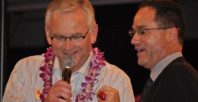 Phil Lane, Lexus of Portland President, and Matt Zaffino, KGW Channel 8 Chief Meteorologist, drew the winning raffle ticket. Prize was a 2012 Lexus CT 200 Hybrid.