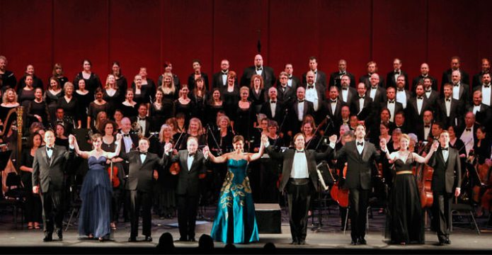 Portland Opera's BIG NIGHT Concert. (l-r): André Chiang, Caitlin Mathes, Matthew Grills, George Manahan, Jennifer Forni, Jonathan Boyd, Michael Todd Simpson, Lindsay Ohse and Nicholas Nelson, with the Portland Opera Orchestra and Chorus.