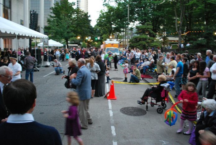 Hundreds of people enjoyed the an outdoor concert on the Street in front of the Keller Auditorium