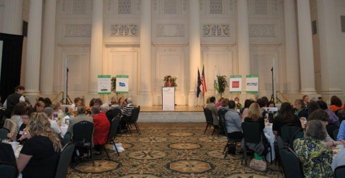 Girl Scout Ambassador Savannah Loberger, 16 addresses guests.