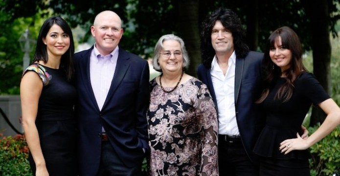 Mariko Clark, Pacific trustee Patrick Clark, Pacific president Lesley Hallick, Tommy Thayer and Amber Thayer.