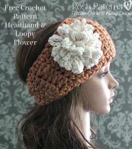 Free Crochet Pattern Headband & Loopy Flower