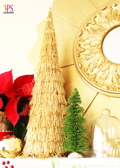 This gold fringe topiary Christmas tree at Positively Splendid is so gorgeous!
