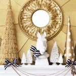 Navy, Gold & White Winter Mantel
