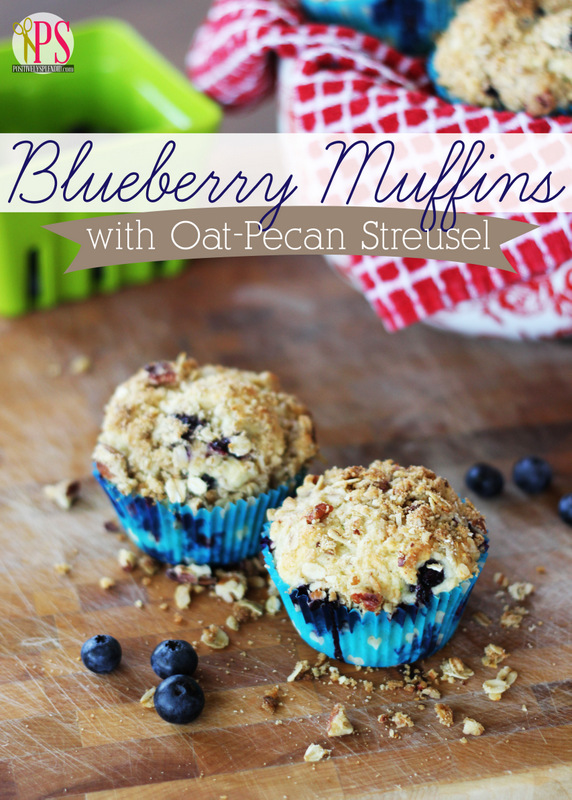 Blueberry Muffins with Oat-Pecan Streusel Recipe at PositivelySplendid.com