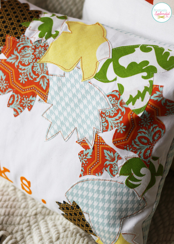 Appliqued Fall Leaf Pillow at Positively Splendid