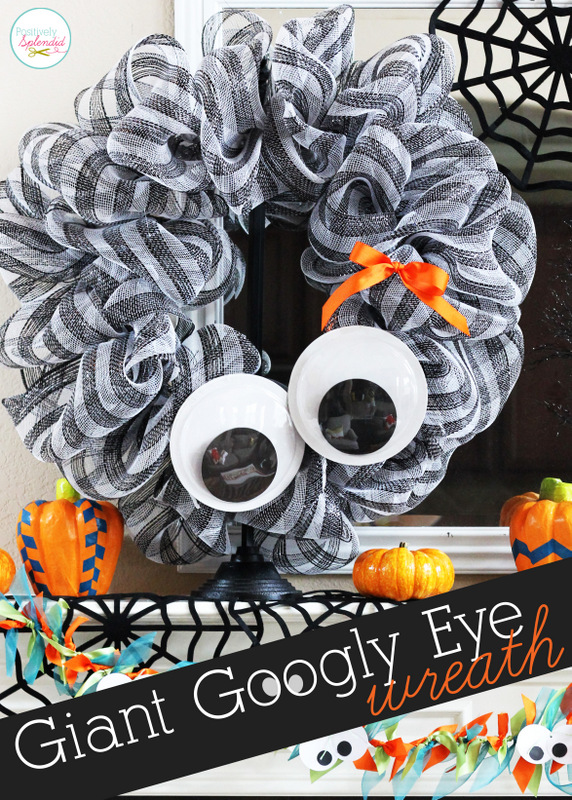 Giant googly eye wreath and whimsical halloween mantel for Large googly eyes crafts