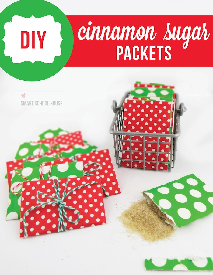 Homemade cinnamon-sugar packets. What a fun idea to tuck inside holiday gifts!