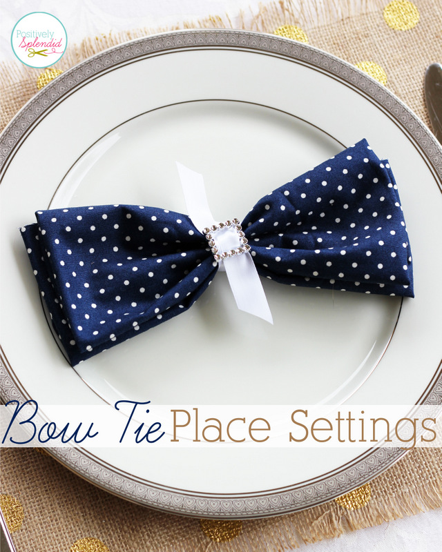 Bow tie place settings - Such an easy, pretty wedding idea!