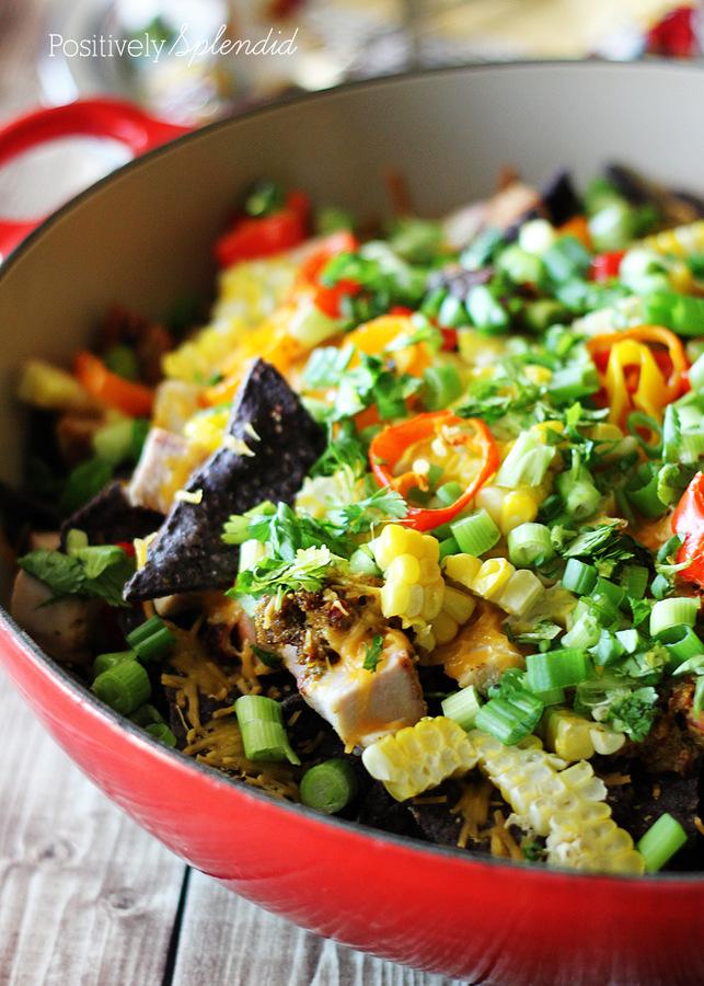 Loaded Blue Corn Nachos. Easy, healthy, and delicious!