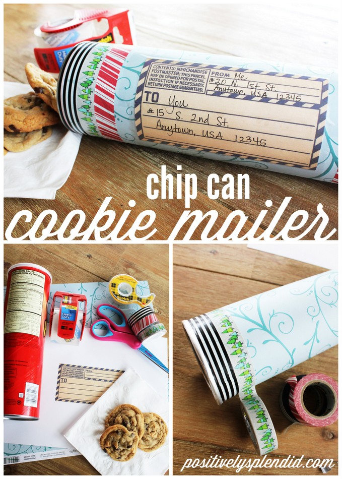 Mail cookies in an embellished chip canister. So smart! #MakeAmazing