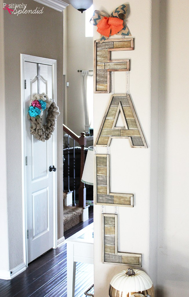 DIY Barnwood Fall Letter Sign
