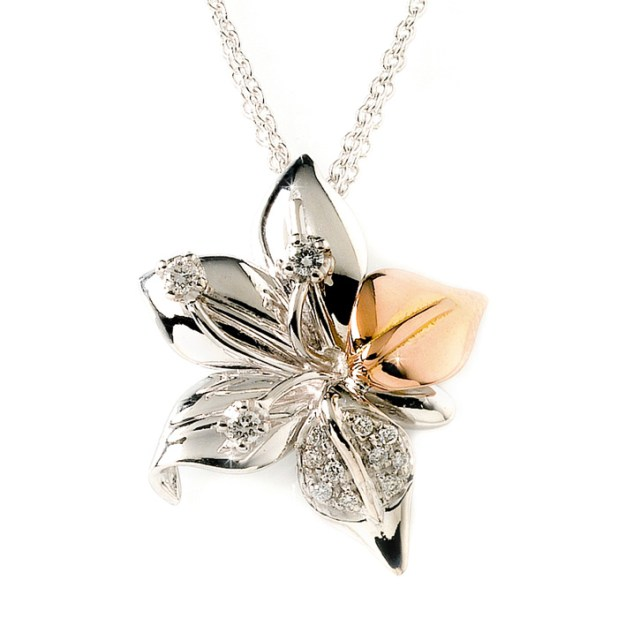 BOFDG3_White_Pink_Gold_Diamond_Flower_Pendant 2013 Top Jewelry Trends