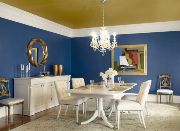 Antique-Blue-Dining-Room-Painted-Ceiling What Are the Latest Home Decor Trends for 2014?